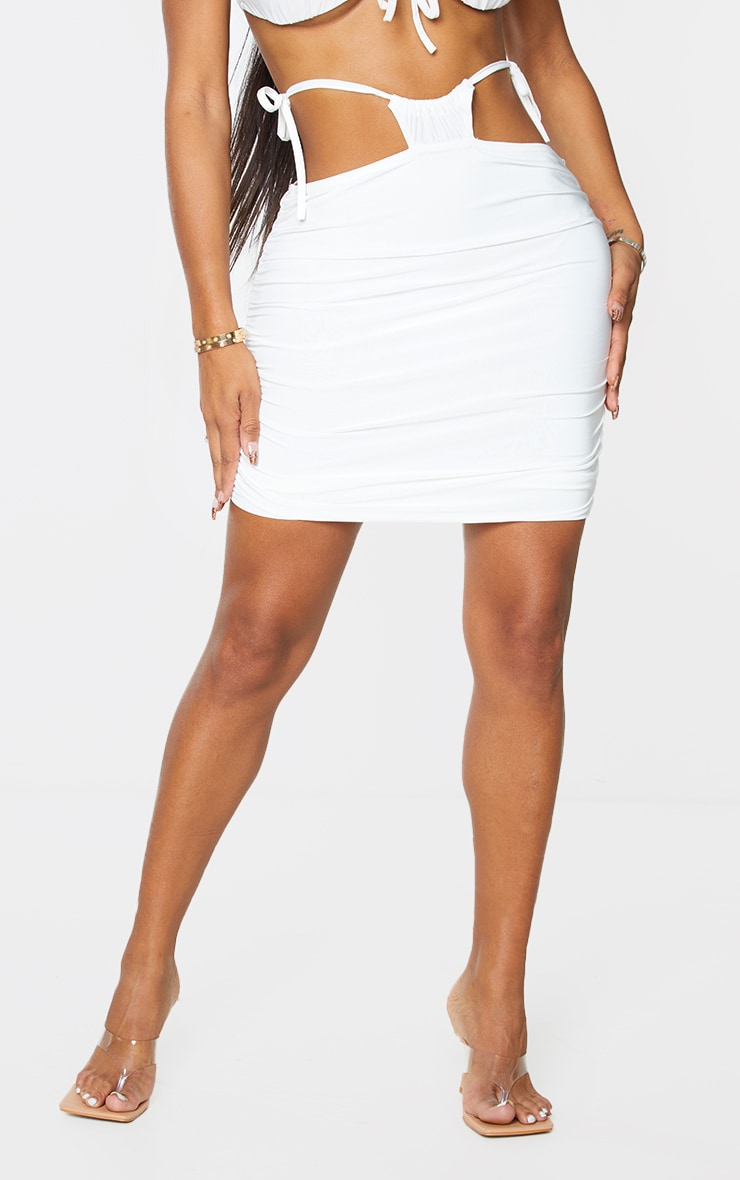 Shape Cream Slinky Ruched Tie Side Bodycon Skirt 2