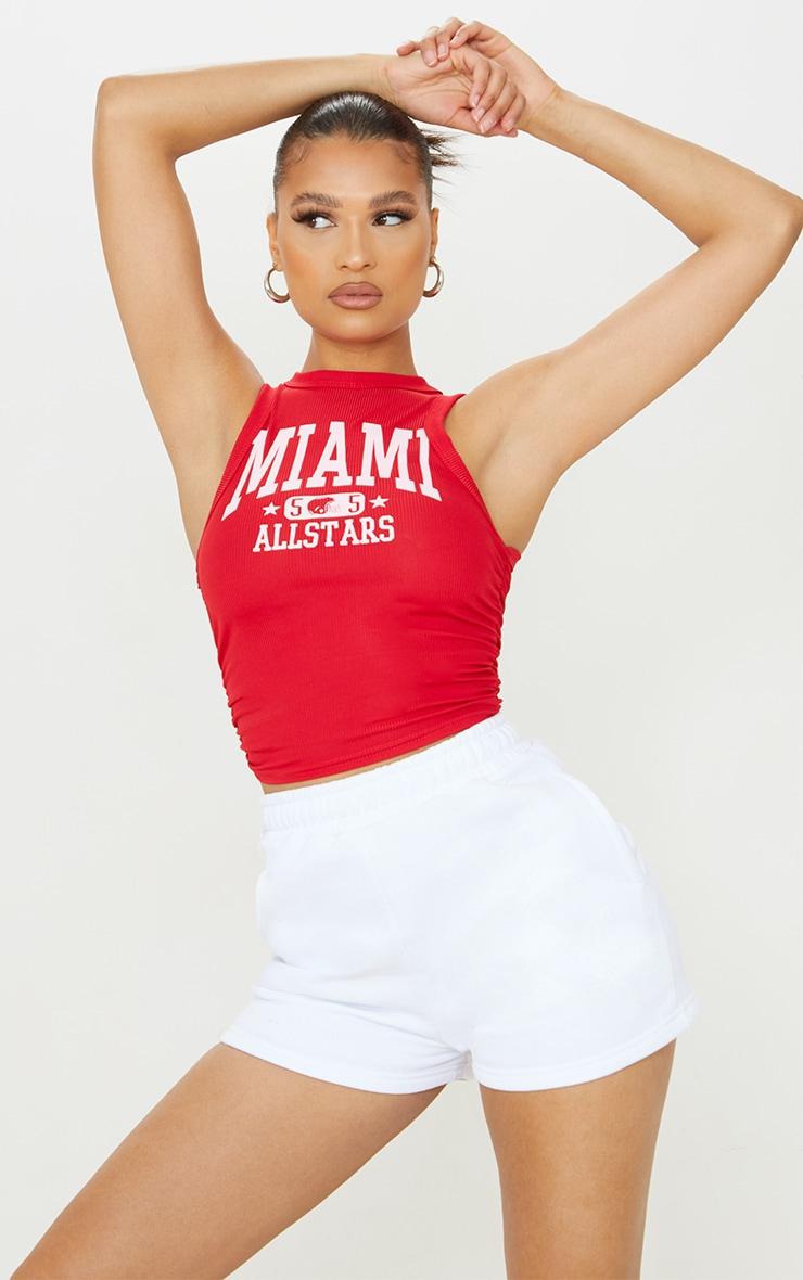 Débardeur côtelé rouge à imprimé Miami et côtés froncés 1