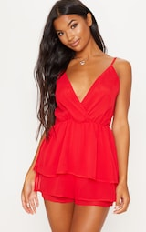Red Frill Layer Romper 4