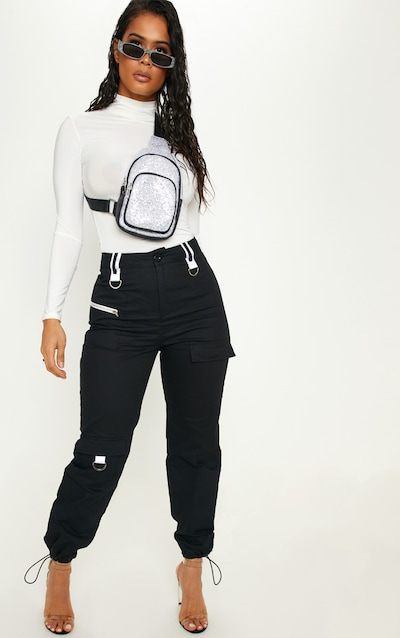 Black Pocket Detail Cargo Trouser