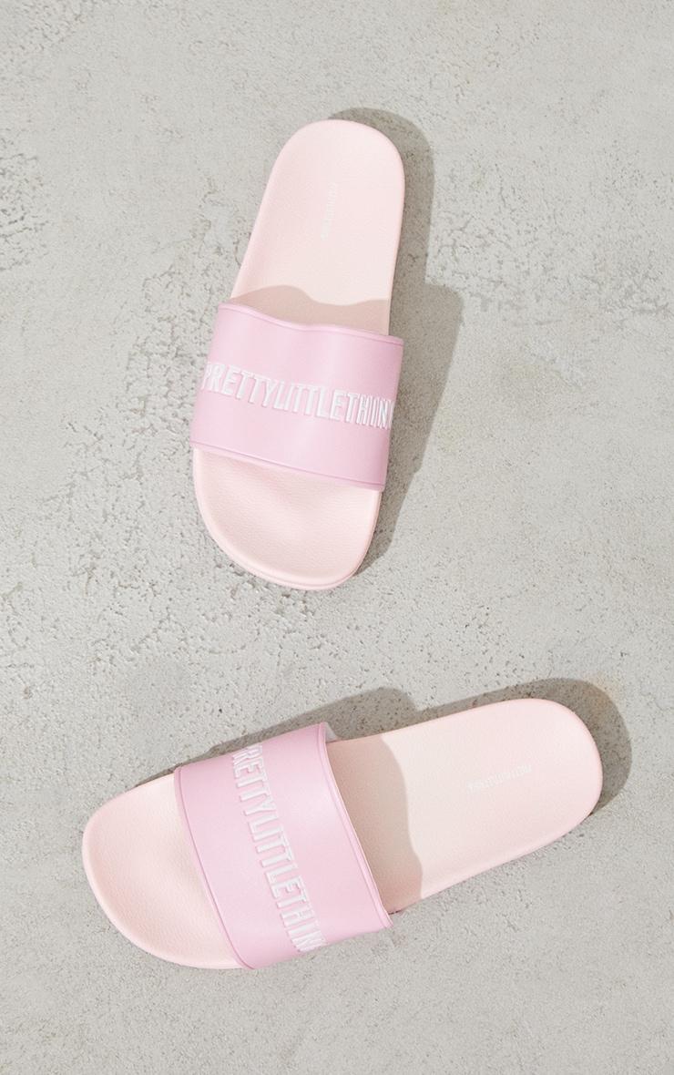 PRETTYLITTLETHING Pink PU Slides 3