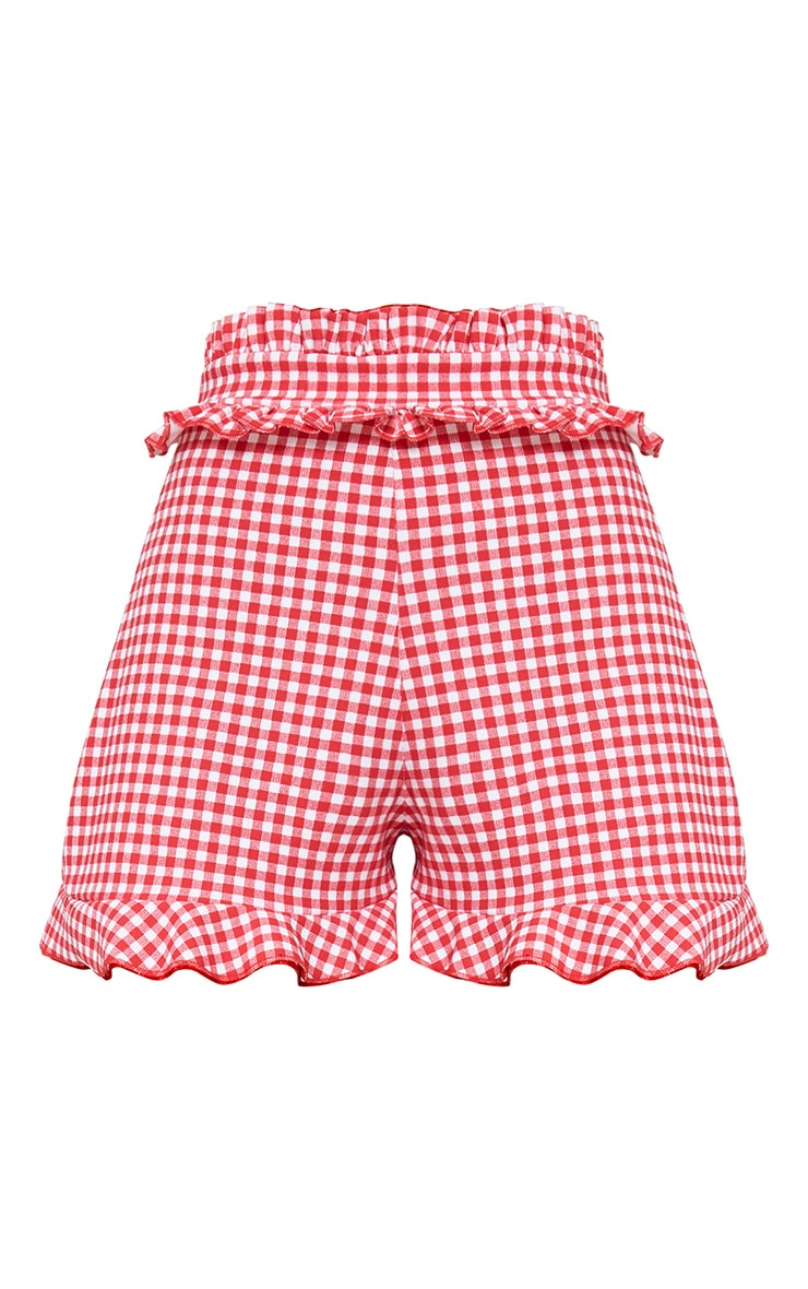 Red Gingham Frill Detail Shorts 3
