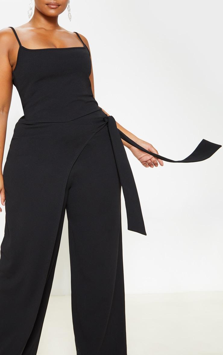 Plus Black Strappy Wrap Detail Wide Leg Jumpsuit 5