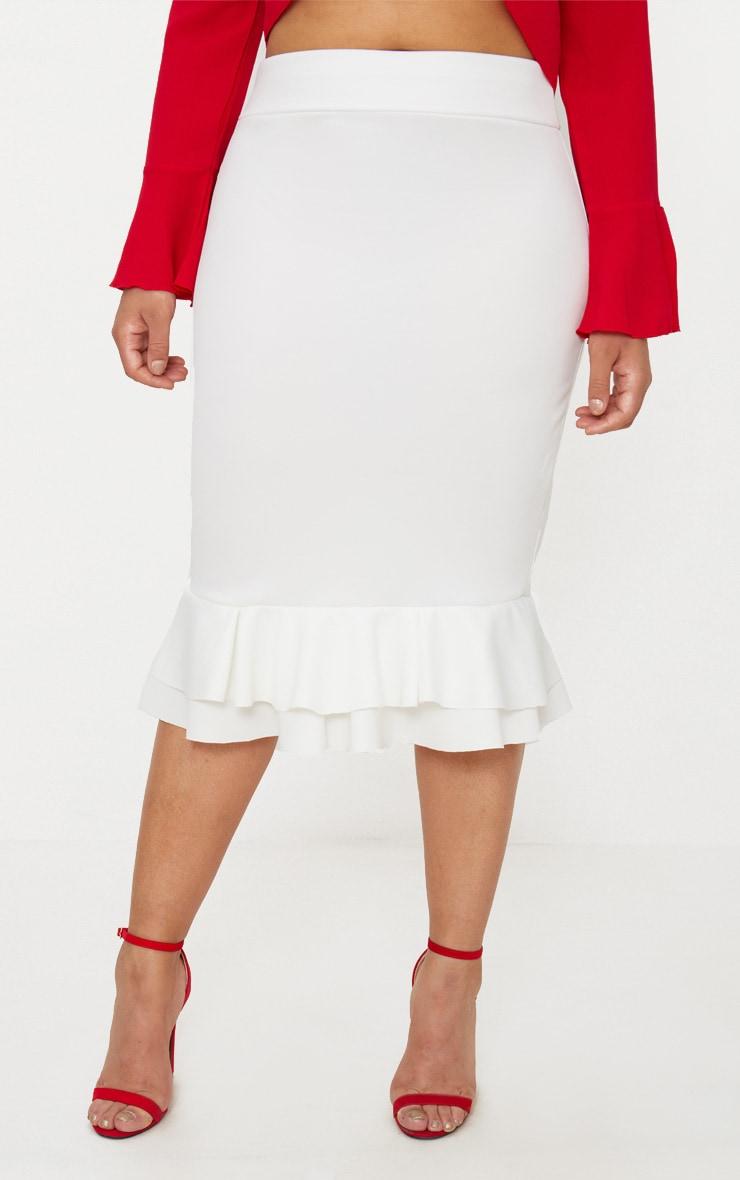 Plus White Frill Hem Midaxi Skirt 2