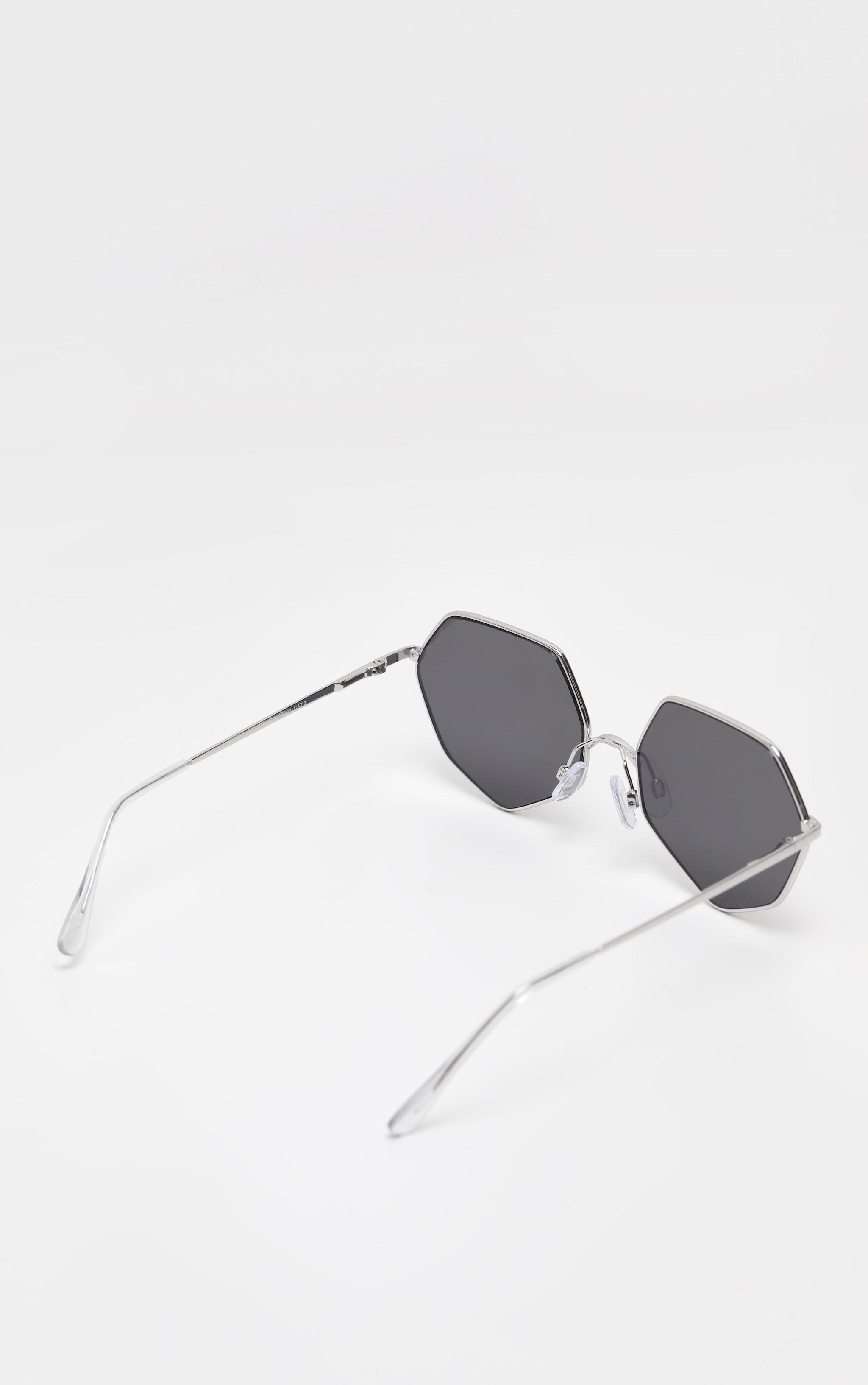 Silver Frame Black Lens Hexagon Sunglasses 3