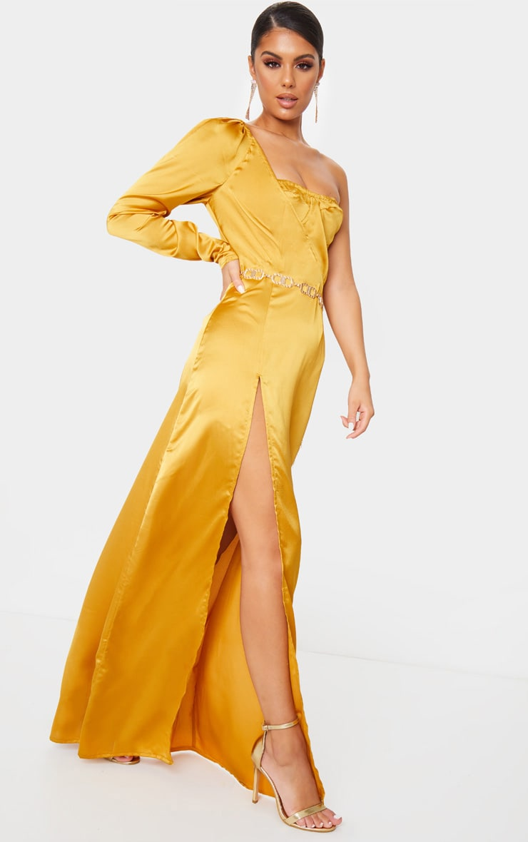 Mustard Cup Detail One Sleeve Maxi Dress 3