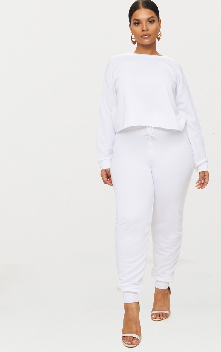 Plus White Extreme Crop Sweater 4