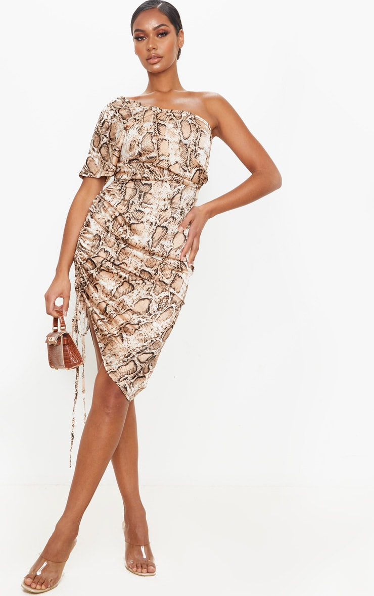 Tan Snake Print One Shoulder Ruched Side Midi Dress 1