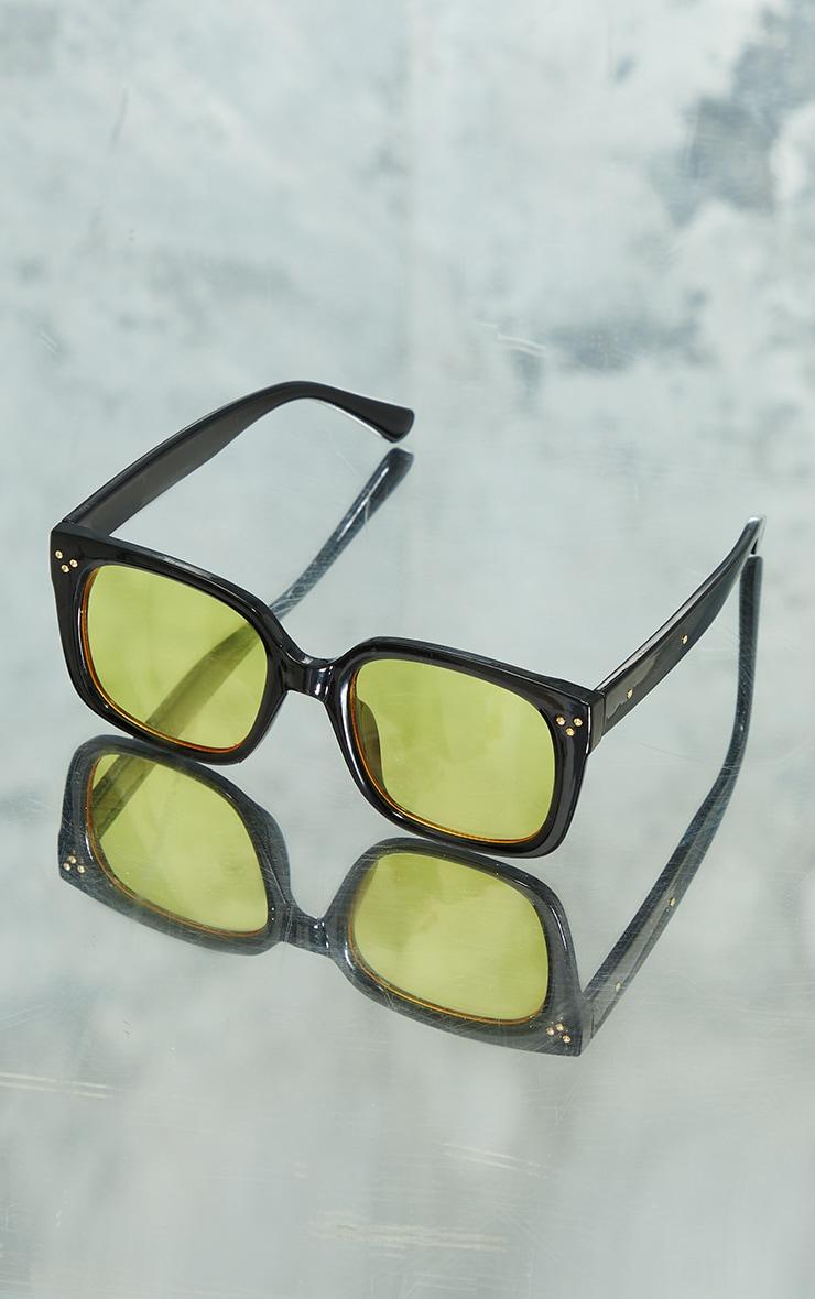 Black Square Frame Yellow Lens Sunglasses 2