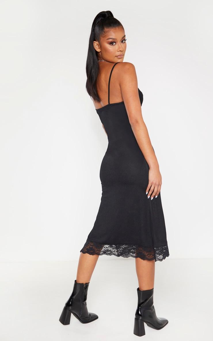 Black Lace Trim Midi Dress 2