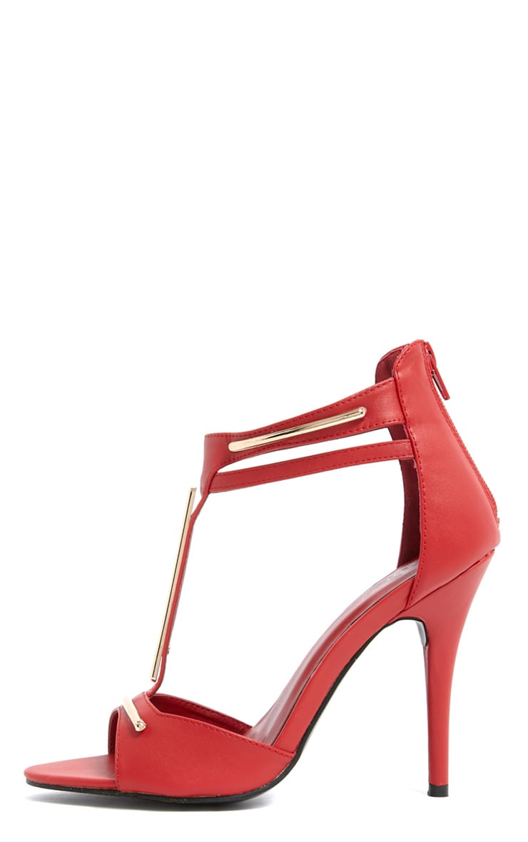Selma Red & Gold Strappy Heels 1