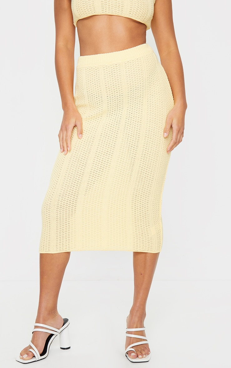 Petite Lemon Pearl Knit Midi Skirt 2