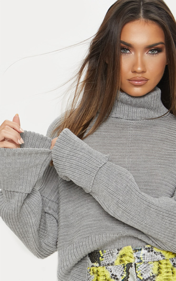 Grey Chunky Ribbed Knitted Jumper 6