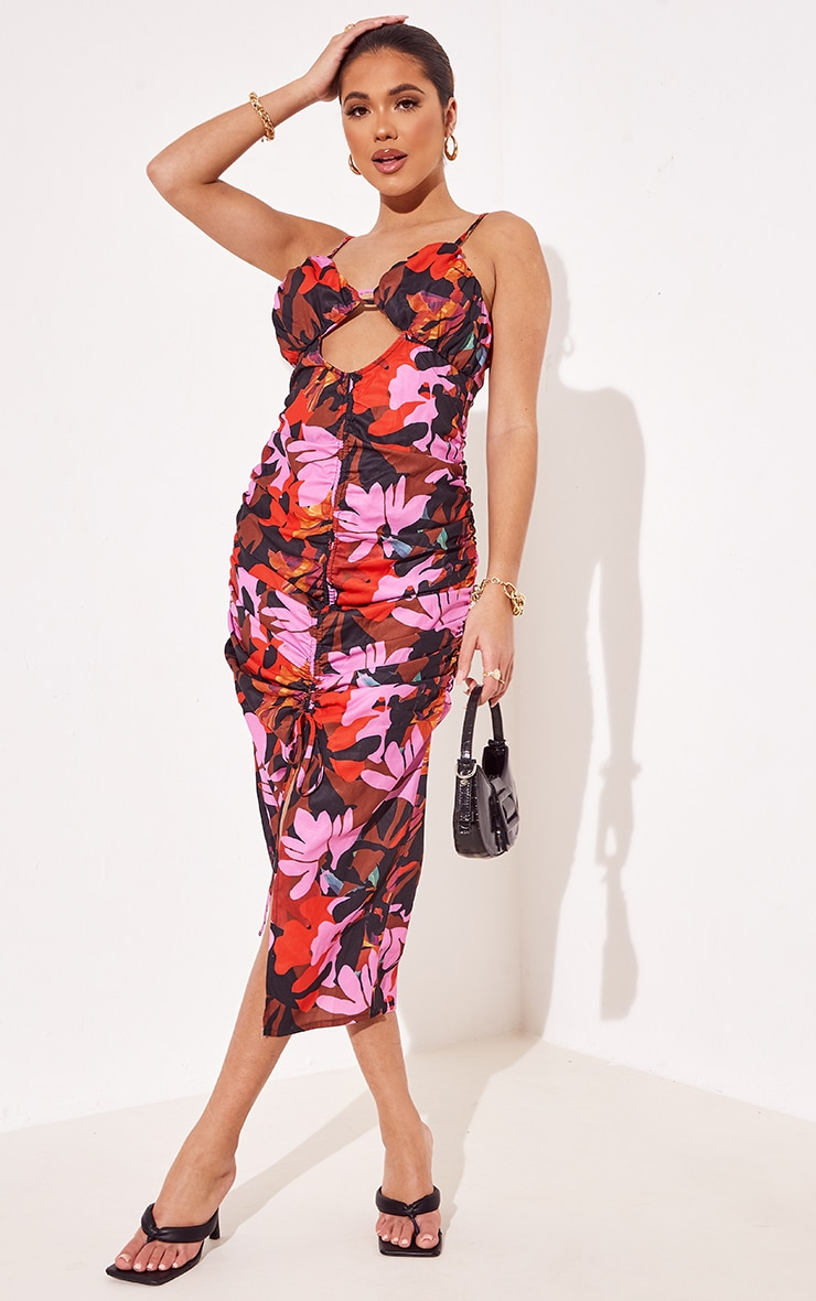 Multi Floral Print Woven Strappy Detail Ruched Midi Dress 1