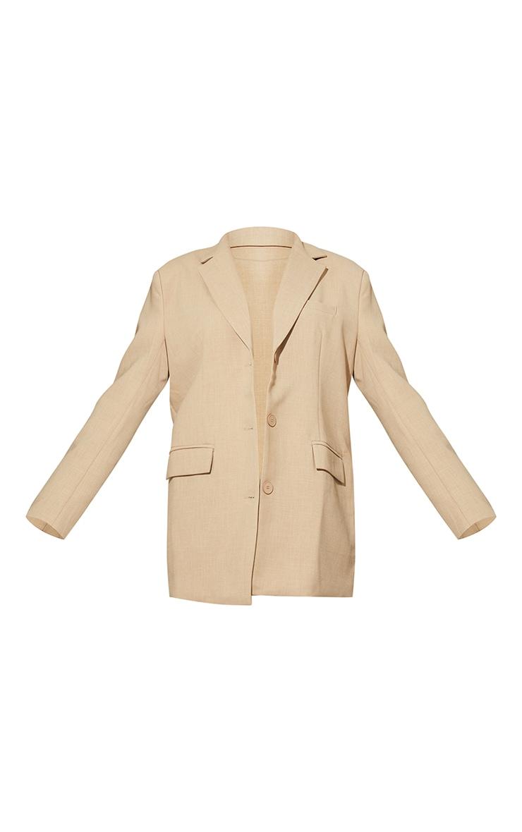 Blazer gris pierre en maille tissée style lin à épaulettes, boutons et détail poches 6