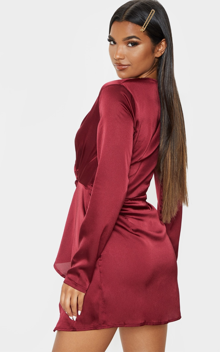 Burgundy Satin Long Sleeve Wrap Dress  2