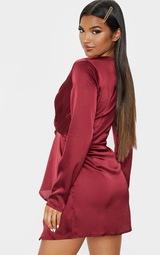 Burgundy Satin Long Sleeve Wrap Dress  2