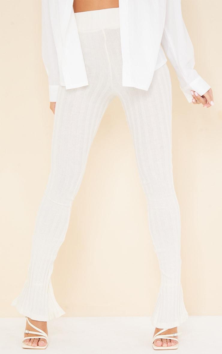 Cream Jumbo Cotton Rib Split Hem Leggings 2