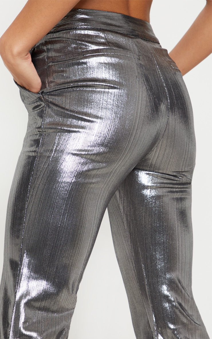 Silver Metallic Straight Leg Trouser  5
