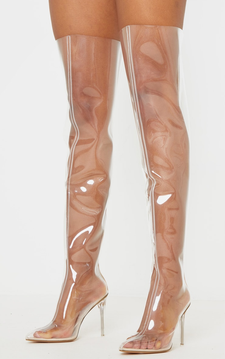 Clear Thigh High Boot 1