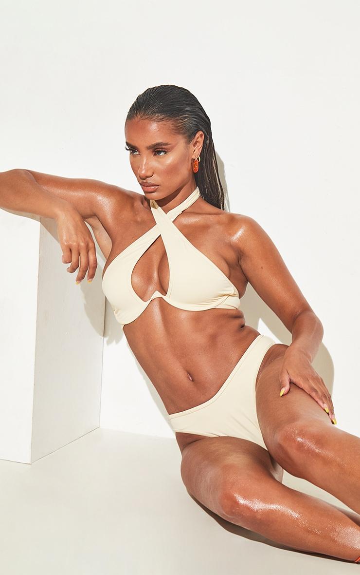 Cream Underwire Cross Front Bikini Top 1