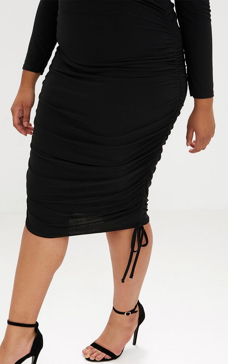 Plus Black Ruched Tie Side Bardot Midi Dress 5