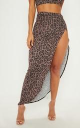 21b66add4 Brown Leopard Print Ruched Maxi Skirt
