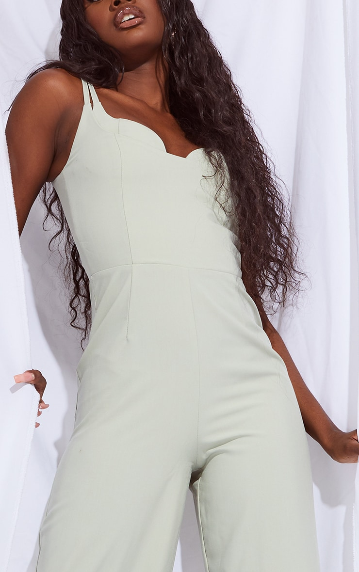 Tall Sage Green Cup Detail Wide Leg Jumpsuit 4