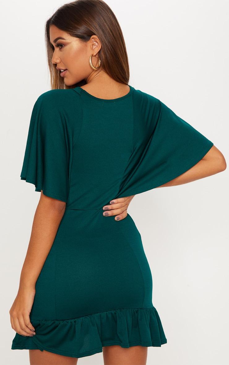 Online bandhej dress hem green frill emerald bodycon size xsmall ombre