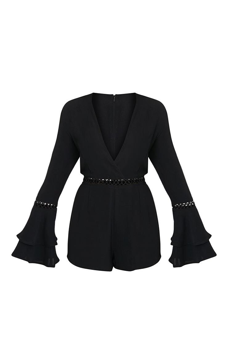 Marnie Black Frill Sleeve Playsuit 3