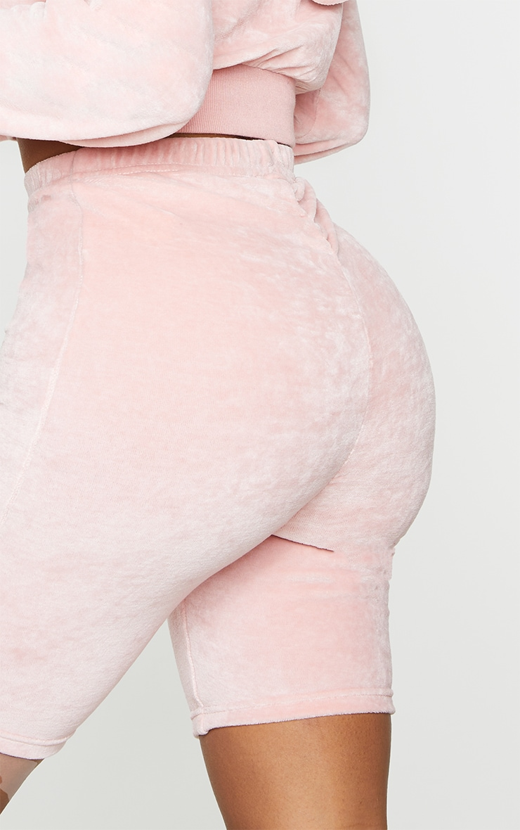 Shape Baby Pink Velour Ruched Bum Bike Shorts 5
