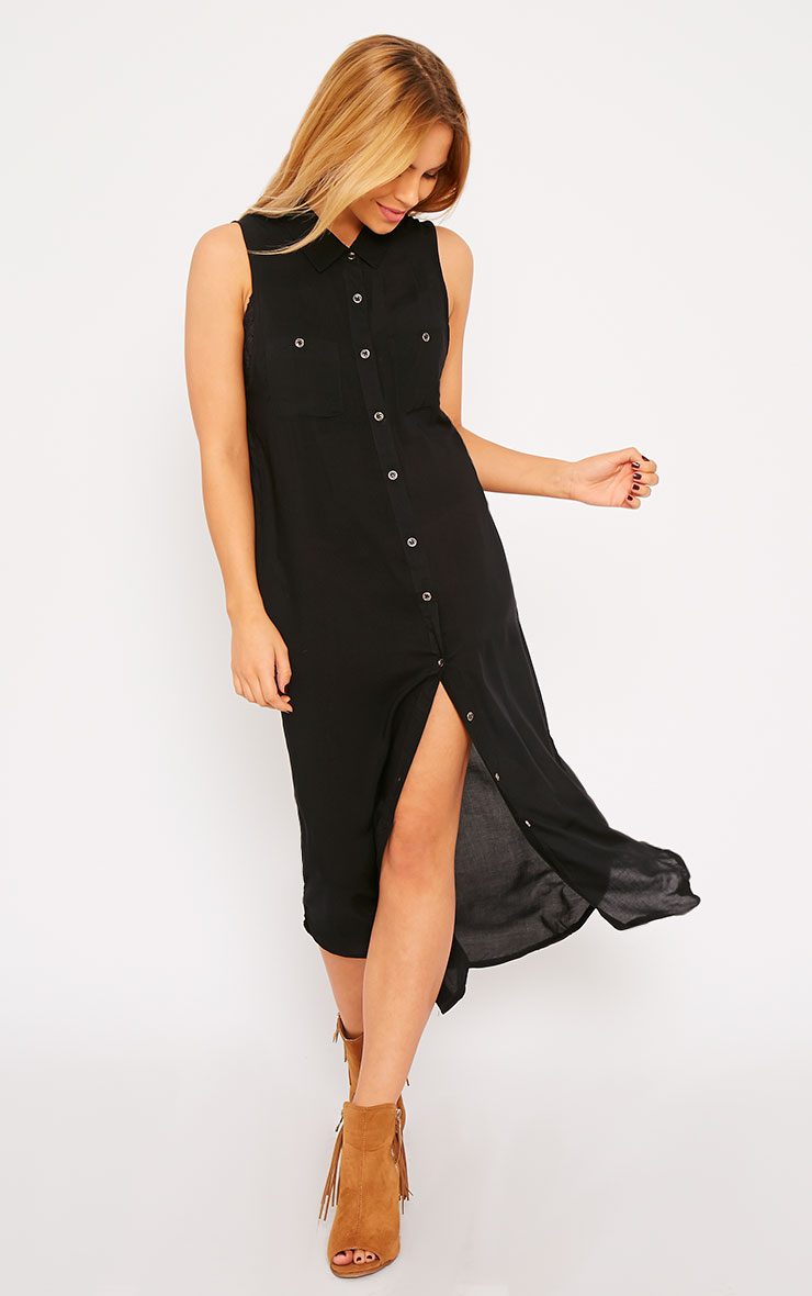 Marja Black Sleeveless Shirt Dress 3