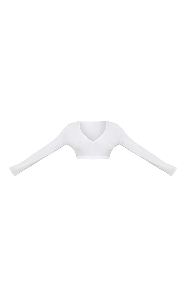 Cream Soft Rib V Neck Long Sleeve Elastic Hem Crop Top 5