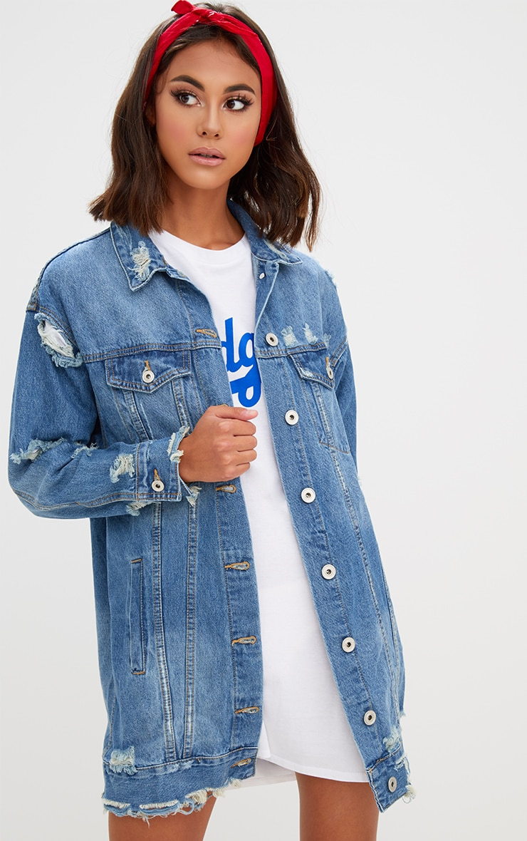 Mid Wash Longline Distressed Denim Jacket 1