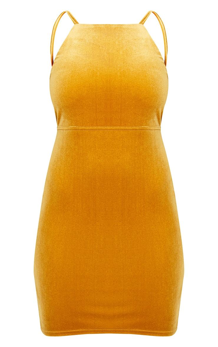 Mustard Velvet Strappy Tie Back Bodycon Dress 3