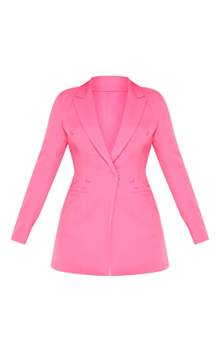 Bubblegum Pink Double Breasted Woven Blazer 4
