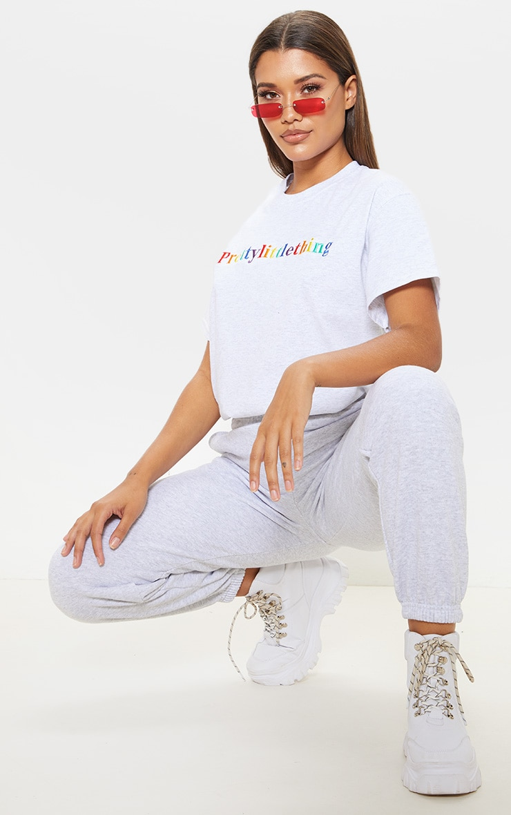 PRETTYLITTLETHING Multi Embroidered Grey Oversized T Shirt 3