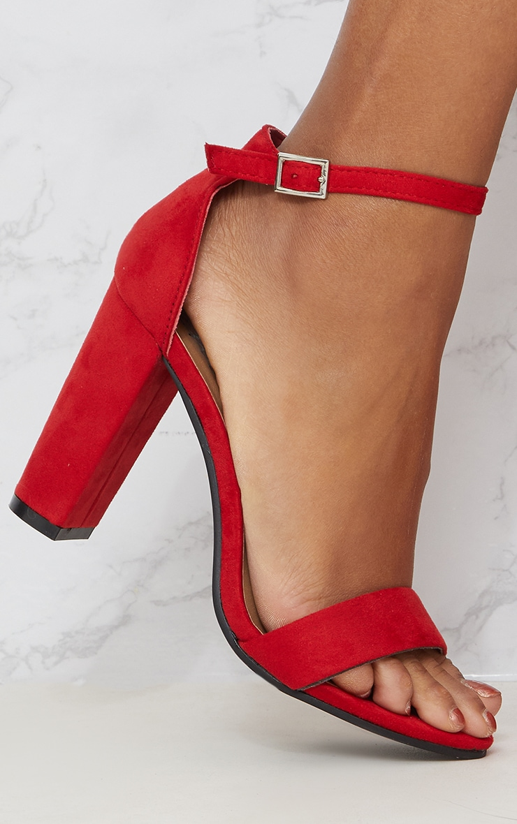 Red Faux Suede Block Heeled Sandals  4