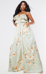Sage Green Floral Strappy Ruffle Wide Leg Jumpsuit 3