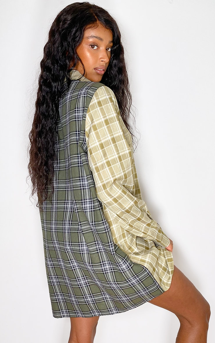 Green Two Tone Checked Shirt Dress 2