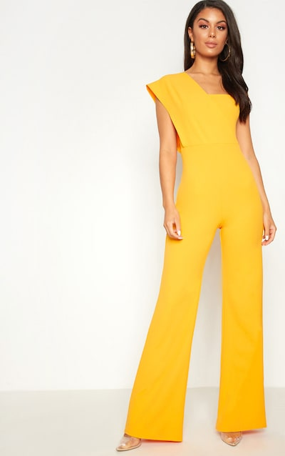a011d0ac268 Orange Drape One Shoulder Jumpsuit