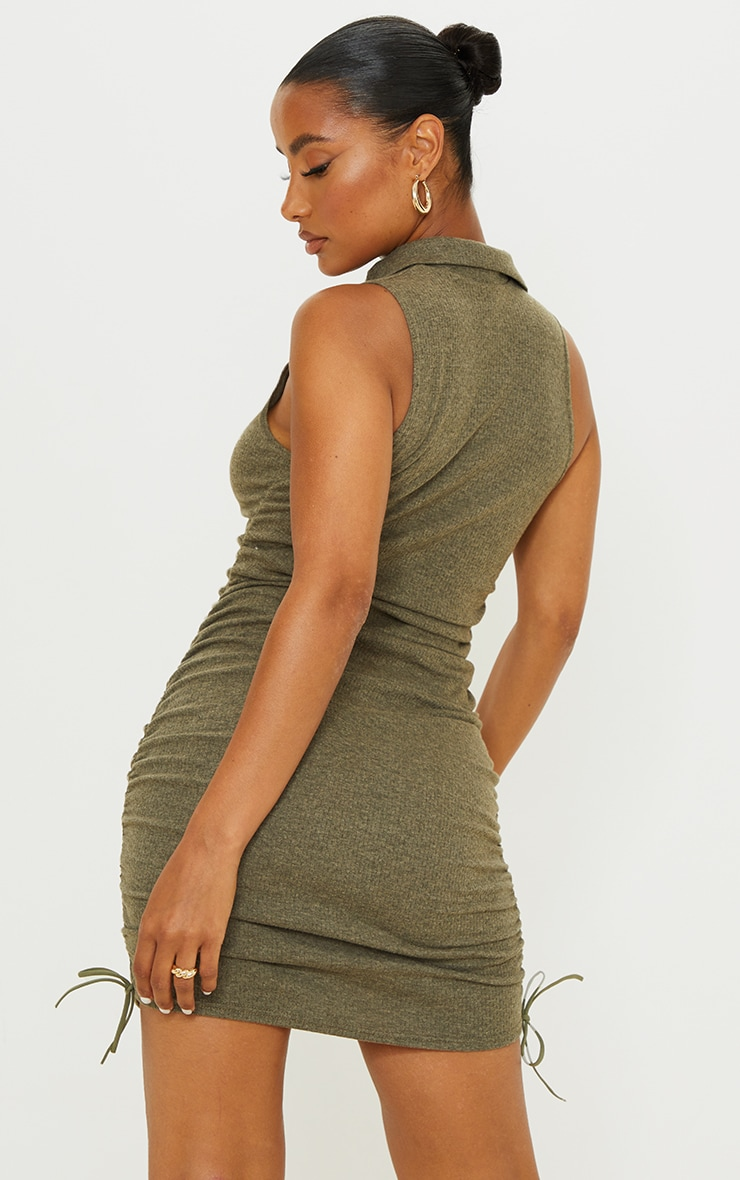 Khaki Brushed Broderie Polo Collar Ruched Bodycon Dress 2