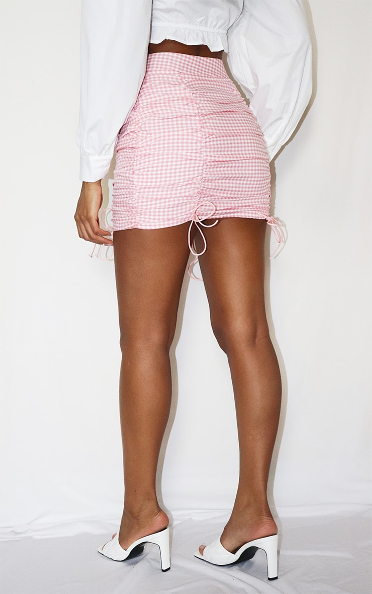 Pink Gingham Ruched Mini Skirt 3