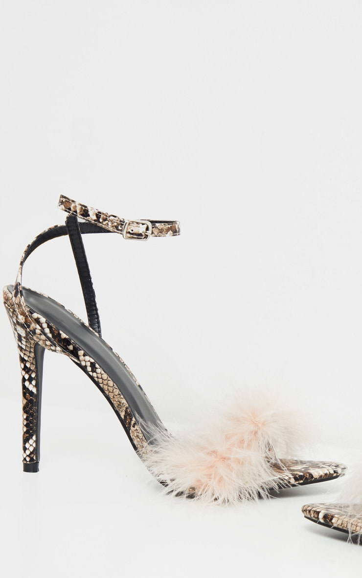 Pink Snake Feather Strap Heeled Sandal 4