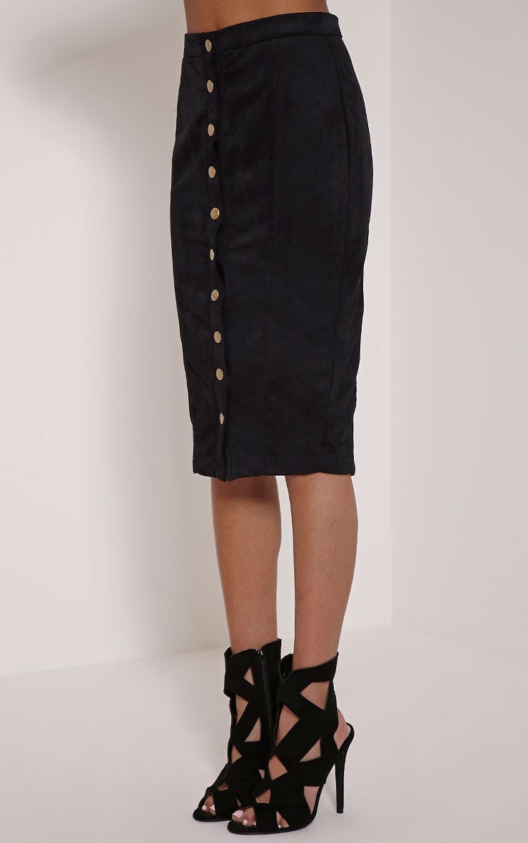 Meemee Black Button Front Suede Midi Skirt 3