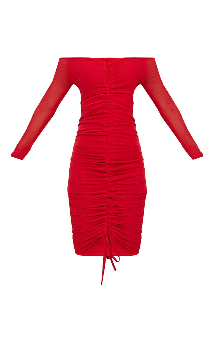Shape Red Mesh Ruched Bardot Midi Dress 3