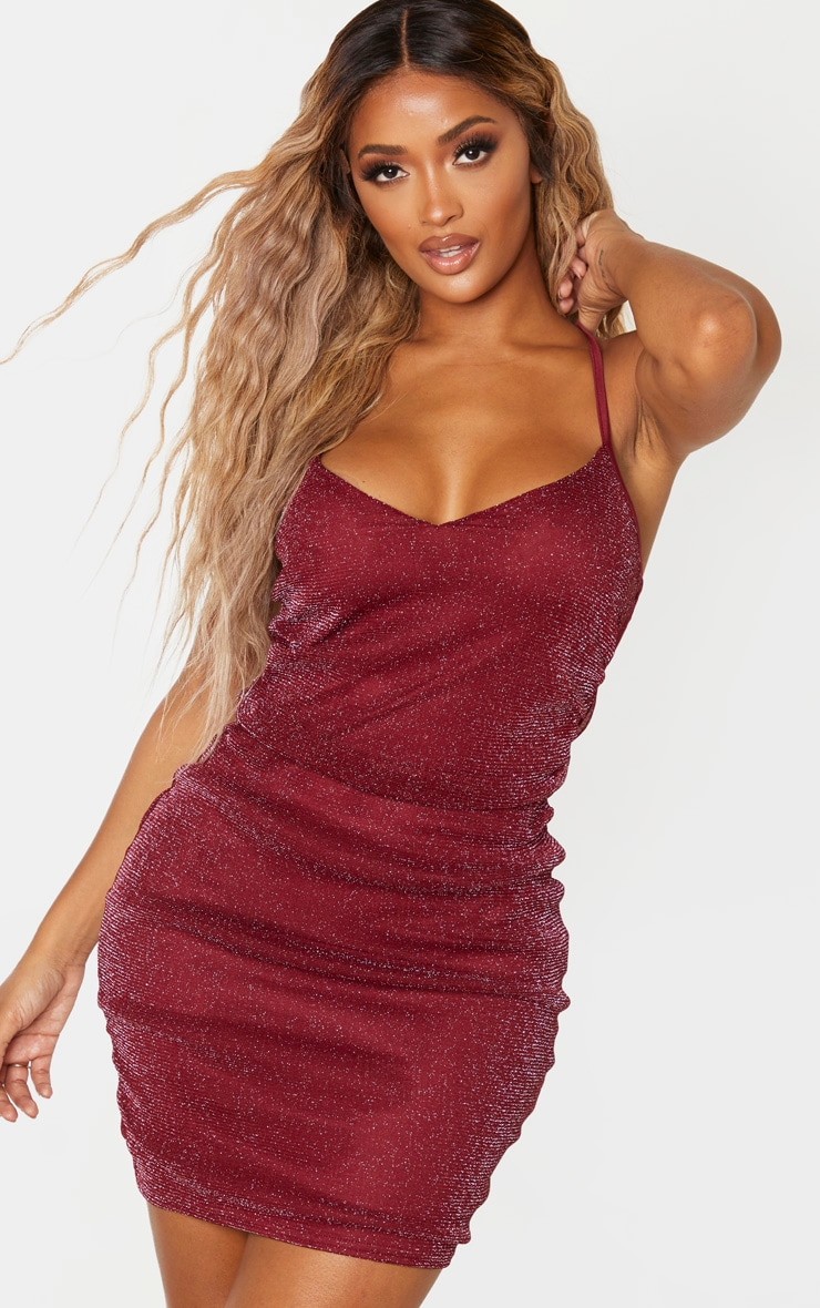 Shape Burgundy Glitter Ruched Side Bodycon Dress 1