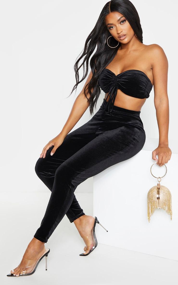 Shape Black Velvet High Waisted Trouser 1