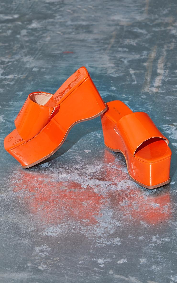 Orange Square Toe Patent Flatform Mules 3