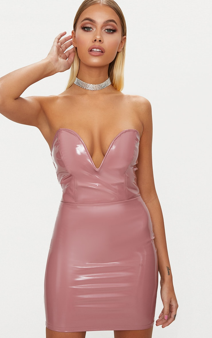 Dusty Pink Vinyl Sweetheart Neck Bodycon Dress 1
